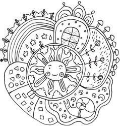kid drawn mandala with sun and nature elements - vector image vector image