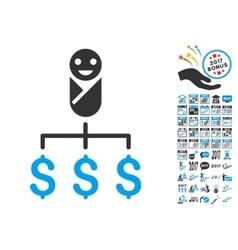 Kid expenses icon with 2017 year bonus symbols vector