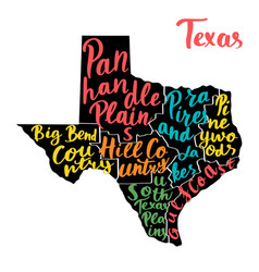 map of state texas usa with colorful hand-written vector image vector image