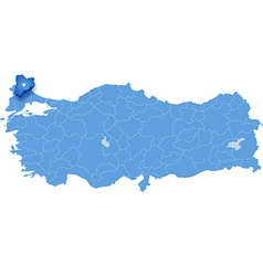 Map of turkey kirklareli vector
