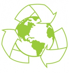 planet earth with recycle symbol vector image