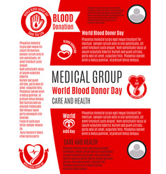 poster for world blood donation donor day vector image