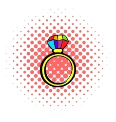 Ring with rainbow diamond icon comics style vector image