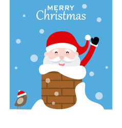 Santa claus inside chimney vector image