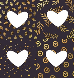 Set of Backgrounds with Golden Hearts for vector image