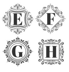 Set of classical logo or monogram design Letters vector image