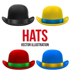 Set of colorful bowler hats vector image