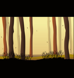 Silhouette forest at sunset landscape vector