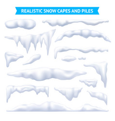 Snow capes and piles set vector