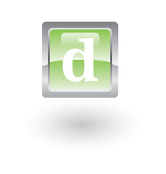 square glossy icon letter d vector image vector image