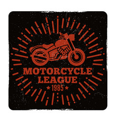 vintage grunge motorcycle league emblem design vector image
