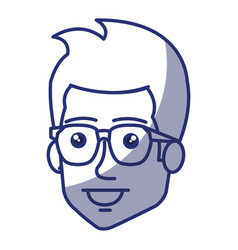 young man with glasses avatar character vector image