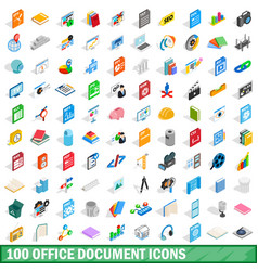 100 office document icons set isometric 3d style vector