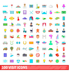 100 visit icons set cartoon style vector