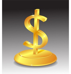 Symbol of gold dollar on stand vector