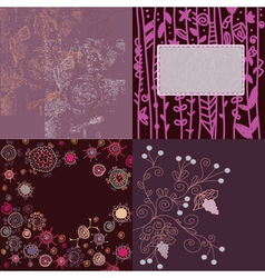 Floral backgrounds set hand drawn vector image