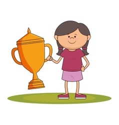Little kid with champion trophy vector