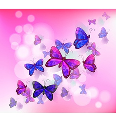 A pink stationery with a group of butterflies vector image