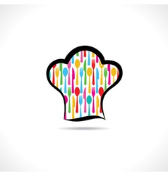 Cutlery inside on chef hat background vector