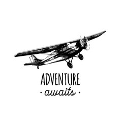 Adwenture awaits motivational quote retro vector