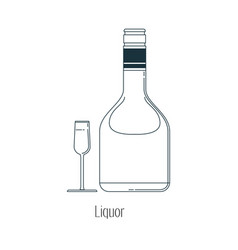Alcoholic drinks in bottles and vector