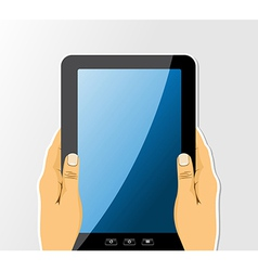 Hands holding tablet drawing set vector image