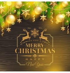 Christmas holidays greeting emblem and decor vector image