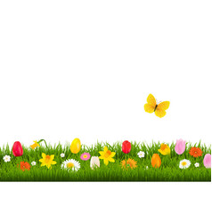 flower border with butterfly vector image