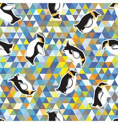 Penguin and a triangular design vector