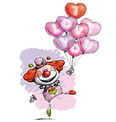 Clown with heart balloons saying i love you vector