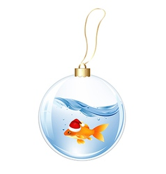 New years sphere with goldfish vector