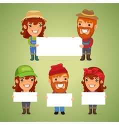 Farmers with blank placards vector