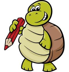 turtle with pencil cartoon vector image
