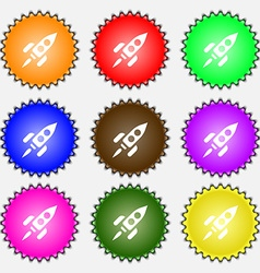 Rocket icon sign a set of nine different colored vector