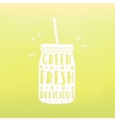 Green fresh delicious mason jar with hand drawn vector