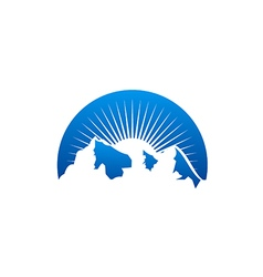sun high mountain abstract logo vector image