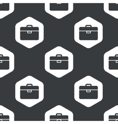 Black hexagon briefcase pattern vector