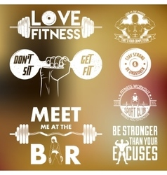Fitness set vintage elements and labels vector