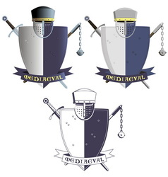 Medieval knights armor and weapons vector