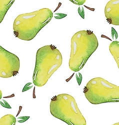 Seamless patterns with watercolor pears vector