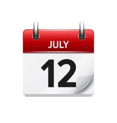 July 12  flat daily calendar icon date vector