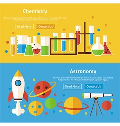 Chemistry and astronomy science flat website vector