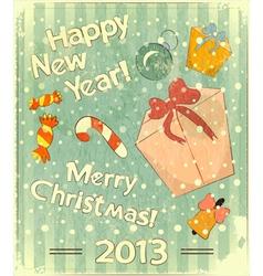 Christmas toys and gift box vector