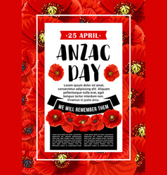 anzac day 25 april red poppy poster vector image