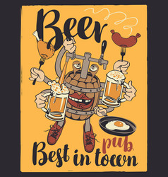 Banner with beer monster barrel with your hands vector