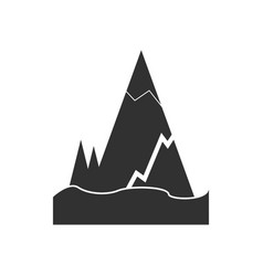 Black icon on white background iceberg with crack vector