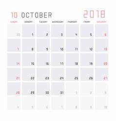 calendar october 2018 vector image
