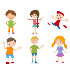 cartoon set of children vector image