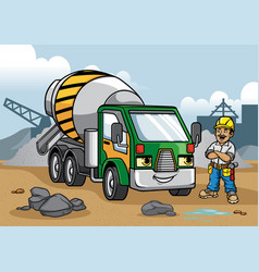 Cement truck on construction site vector