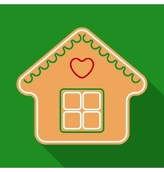 Christmas gingerbread house in flat style vector